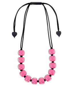 40101399017Q12 necklace COLOURFULBEADS 12beads adjust, hotpinkinpink