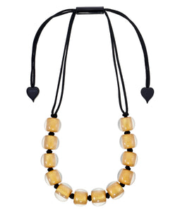 4010139G00PQ12 necklace COLOURFULBEADS 12beads adjust, goldpigment