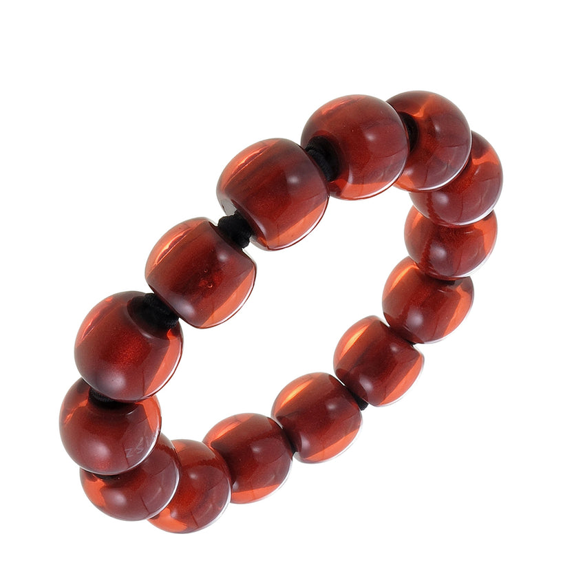 4010310bracelet COLOURFULBEADS 14beads elastic, red