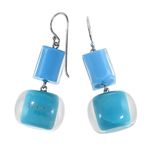 40105210908Q00 earring COLOURFULBEADS 2beads shorthook, combinationblue