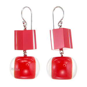40105219203Q00 earring COLOURFULBEADS 2beads shorthook, red