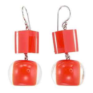 40105219206Q00 earring COLOURFULBEADS 2beads shorthook, orange