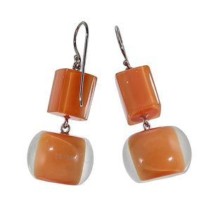 40105219228Q00 earring COLOURFULBEADS 2beads shorthook, orange