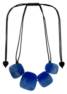 4300101BLUSQ04 necklace VENUS 4beads adjust, blue