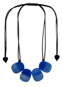 4300102BLUSQ04 necklace VENUS 4beads adjust, blue