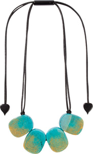 4300102TURGQ04 necklace VENUS 4beads adjust, turquoise