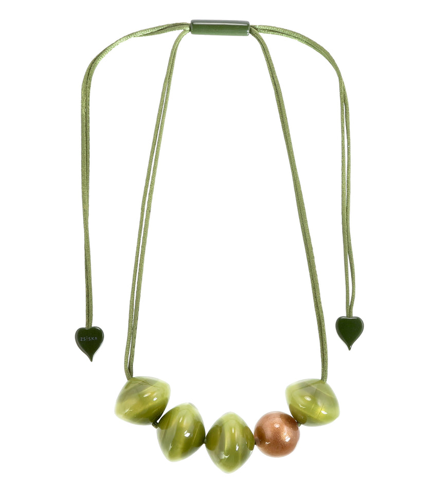 4310102GRNCQ05 necklace MALAI 5beads adjust, green/copper
