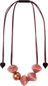 4310102PINCQ05 necklace MALAI 5beads adjust,pink/copper