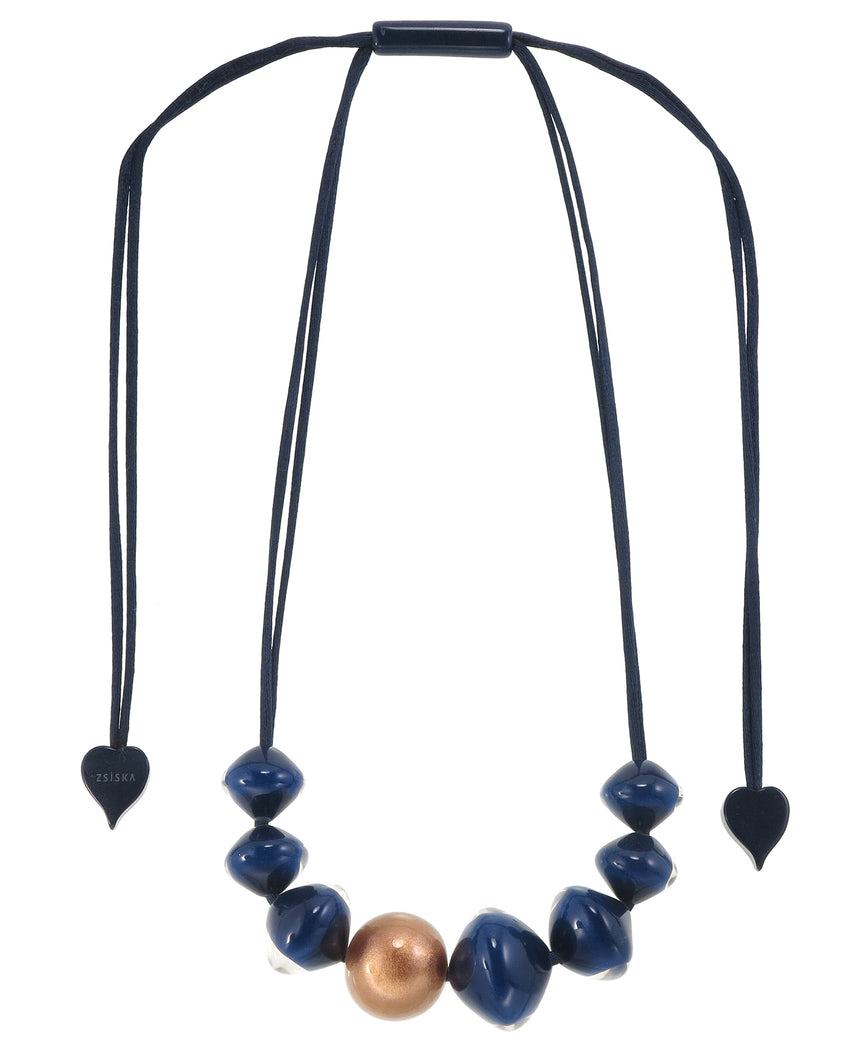 4310103BLUCQ08 necklace MALAI 8beads adjust, blue/copper