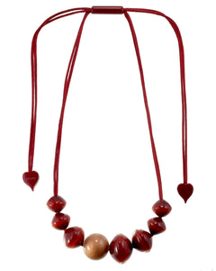 4310103REDCQ08 necklace MALAI 8beads adjust, red/copper