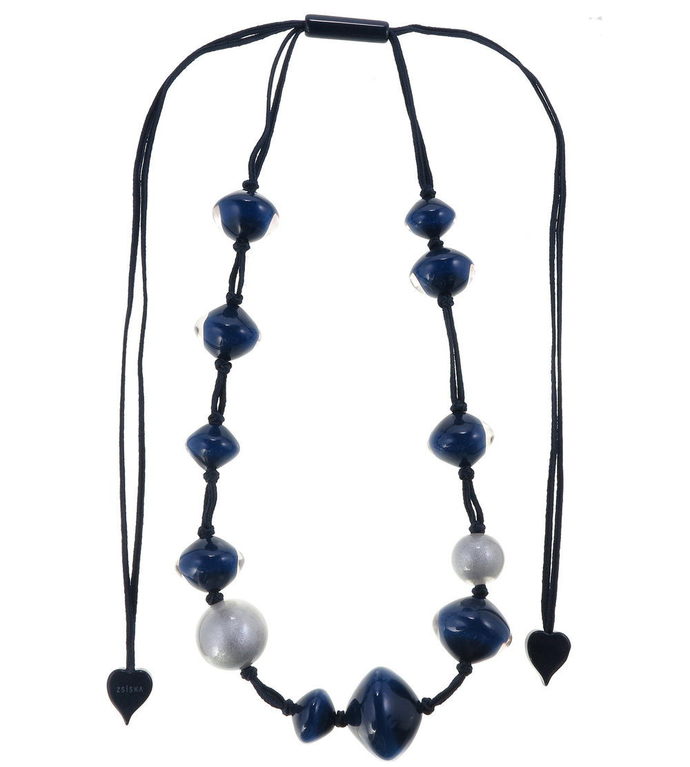 4310105BLUSQ12 necklace MALAI 12beads adjust, blue/silver