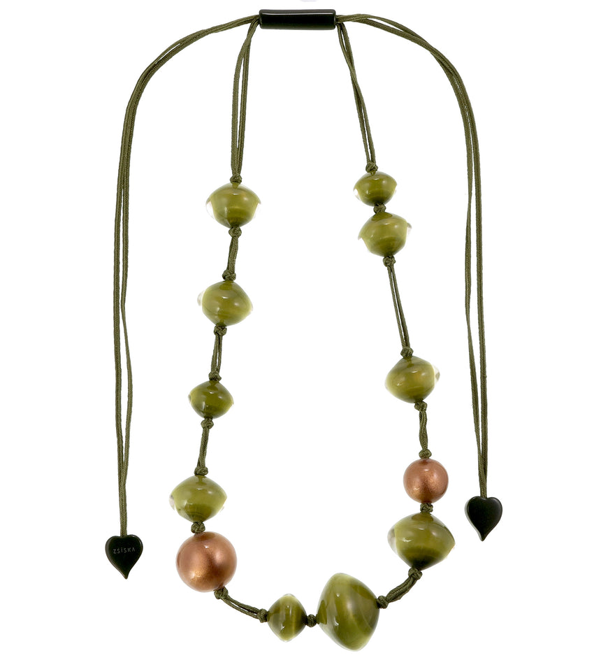 4310105GRNCQ12 necklace MALAI 12beads adjust, green/copper