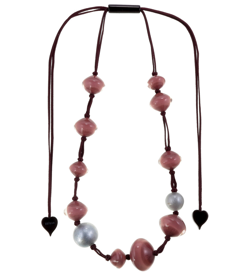 4310105PINSQ12 necklace MALAI 12beads adjust, pink/silver
