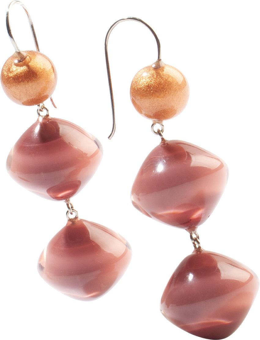 4310501PINCQ00 earring MALAI 3beads shorthook, pink/copper