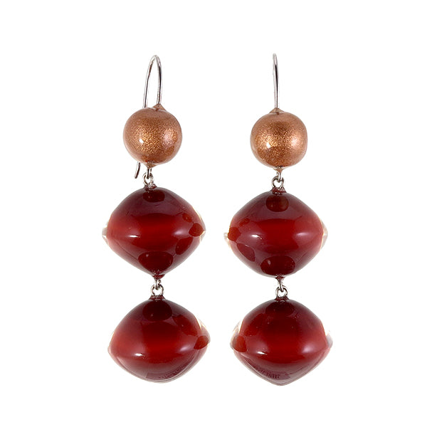 4310501REDCQ00 earring MALAI 3beads shorthook, red/copper