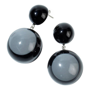 2220501GREYQ00 Earring SIXTIES grey/blk drop std