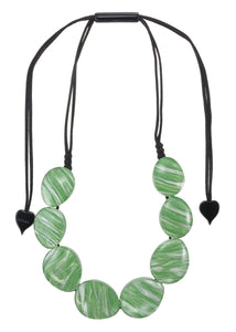 5260101GREEQ08 necklace EDEN 8beads adjust, green