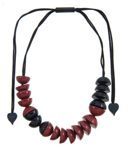 5280102necklace META 20beads adjust, red