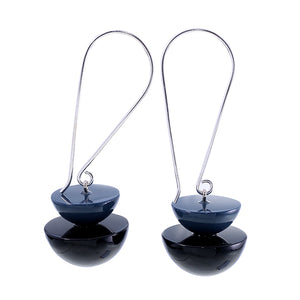 5280503earring META 2beads longhook, blue