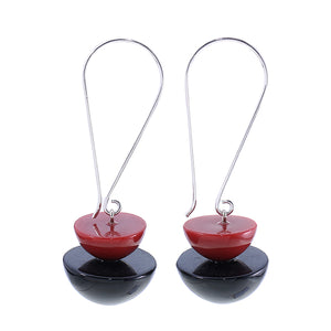 5280503earring META 2beads longhook, red