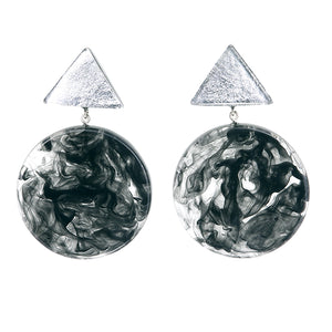 5310501SBLKQ00 earring ATHENA 2beads pin, SILVER/BLACK