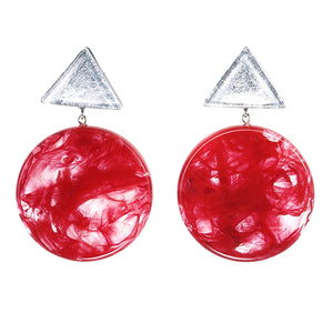 5310501SREDQ00 earring ATHENA 2beads pin, SILVER/RED