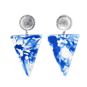 5310502SBLUQ00 earring ATHENA 2beads pin, SILVER/BLUE