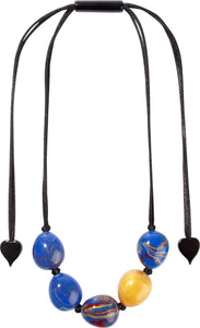 6290102BLUGQ05 necklace NATURA 5beads adjust, blue