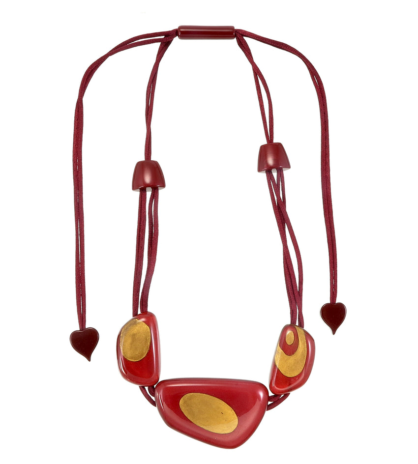 6310102REDGQ03 necklace ARTISAN 3beads adjust, red/gold