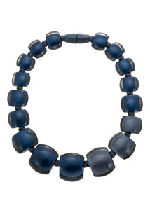7240101necklace BELLISSIMA 17beads magnet, blue/smoke