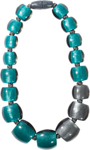 7240101necklace BELLISSIMA 17beads magnet, turquoise/smoke