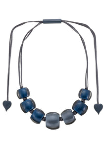 7240102necklace BELLISSIMA 7beads adjust, blue/smoke