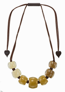 7240102SAFFQ07 necklace BELLISSIMA 7beads adjust, saffron