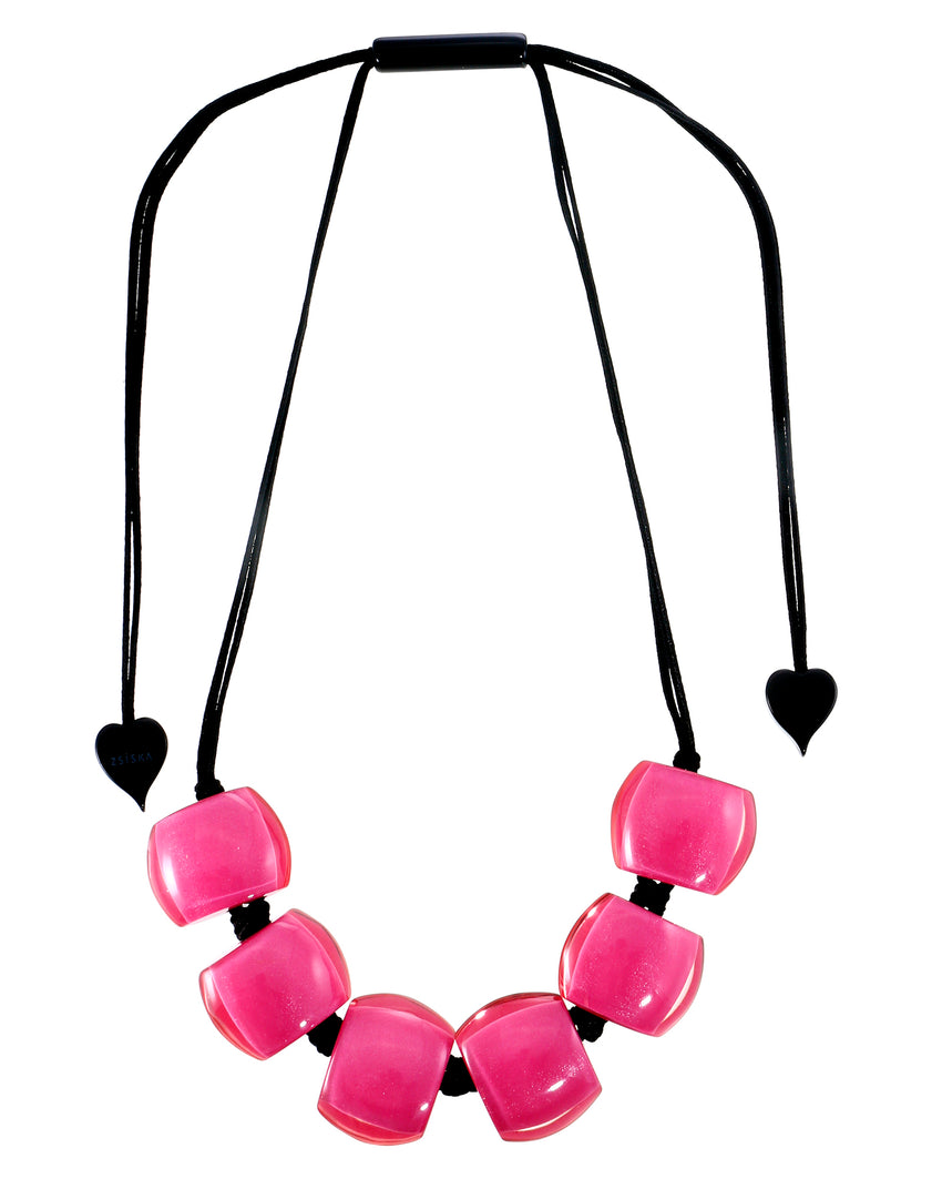 72401059017Q06 necklace BELLISSIMA 6beads adjust, hotpinkinpink