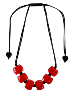 72401069013Q06 necklace BELLISSIMA 6beads adjust, redinred