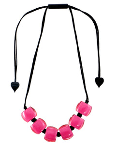 72401069017Q06 necklace BELLISSIMA 6beads adjust, hotpinkinpink
