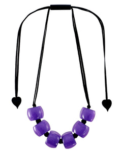 72401069018Q06 necklace BELLISSIMA 6beads adjust, purpleinpurple