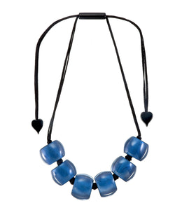 72401069174Q06 necklace BELLISSIMA 6beads adjust, blue