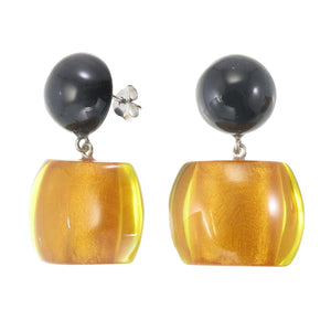 72405019171Q00 earring BELLISSIMA 2beads pin, orange