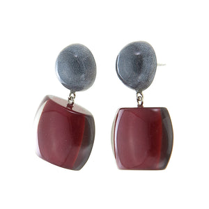 7240501earring BELLISSIMA 2beads pin, red/smoke