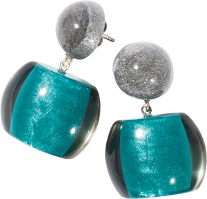 7240501earring BELLISSIMA 2beads pin, turquoise/smoke