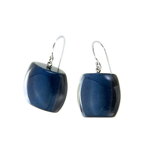 7240502earring BELLISSIMA 1bead shorthook, blue/smoke