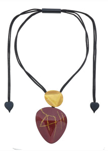 7270201REDGQ00 pendant DIVINE 2beads magnet, RED/GOLD