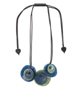 7290102DOK7Q03 necklace DOK MAI 3beads adjust, blue/green