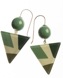 7350502GREEQ00,earring ABBA 2beads shorthook, green