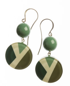 7350503GREEQ00,earring ABBA 2beads shorthook, green