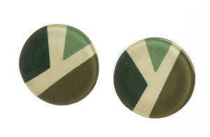 7350504GREEQ00,earring ABBA 1bead pin, green