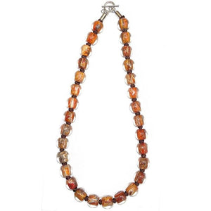 4010107MP15Q30 Necklace 107 MARBLE brown/white Q30