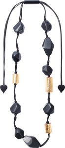 8270104necklace DOLOMITES 12beads adjust, gold leaf/black