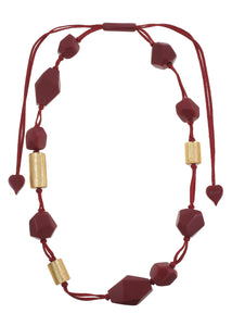 8270104necklace DOLOMITES 12beads adjust, goldleaf/red
